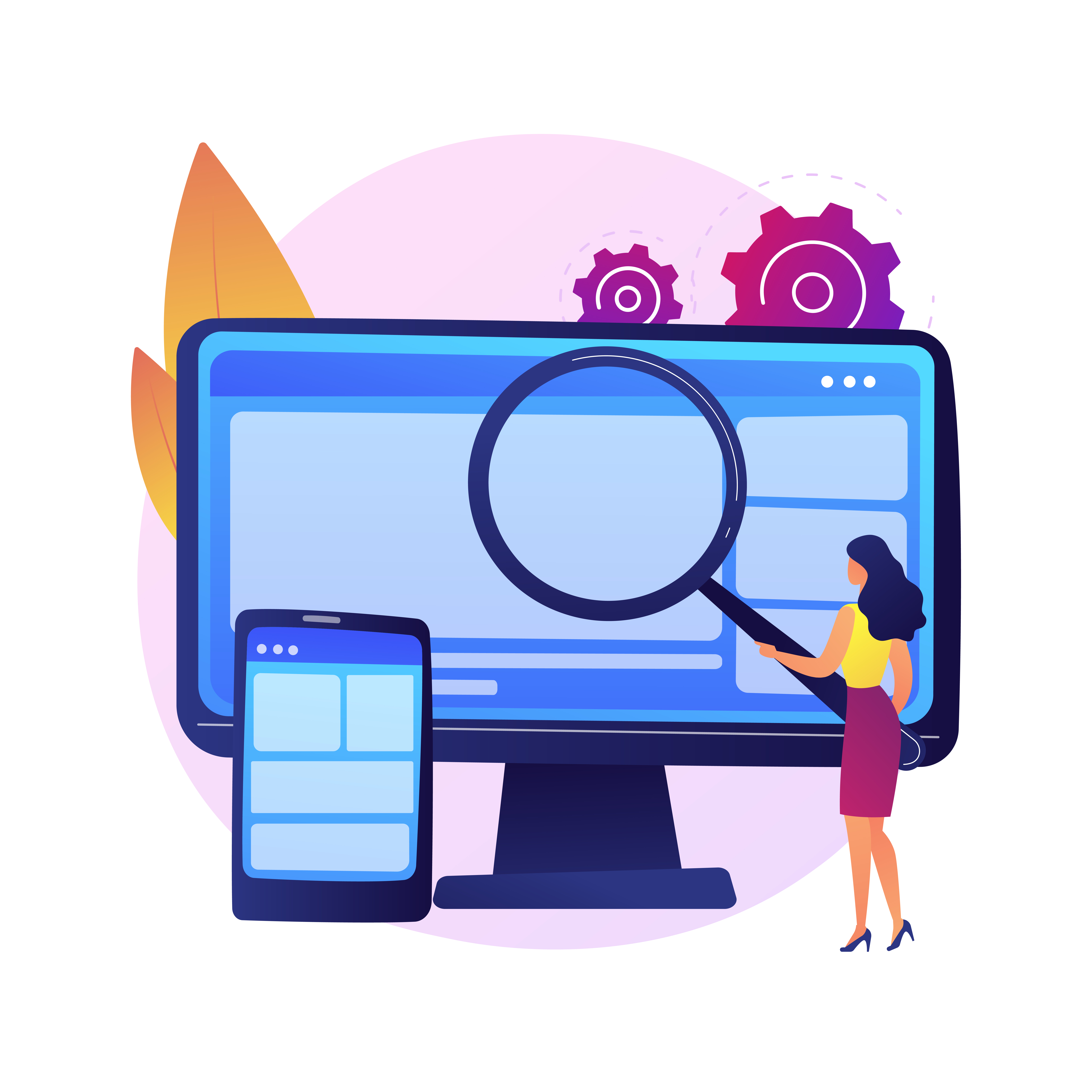 Benefits of Having a Mobile Version for Your Website Woman Magnifying Glass Desktop and Mobile Version of Website