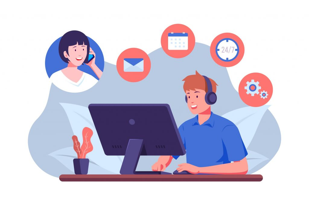 Four Easy Steps To Finding Virtual Assistants Male Virtual Assistant Answering Female Client Call