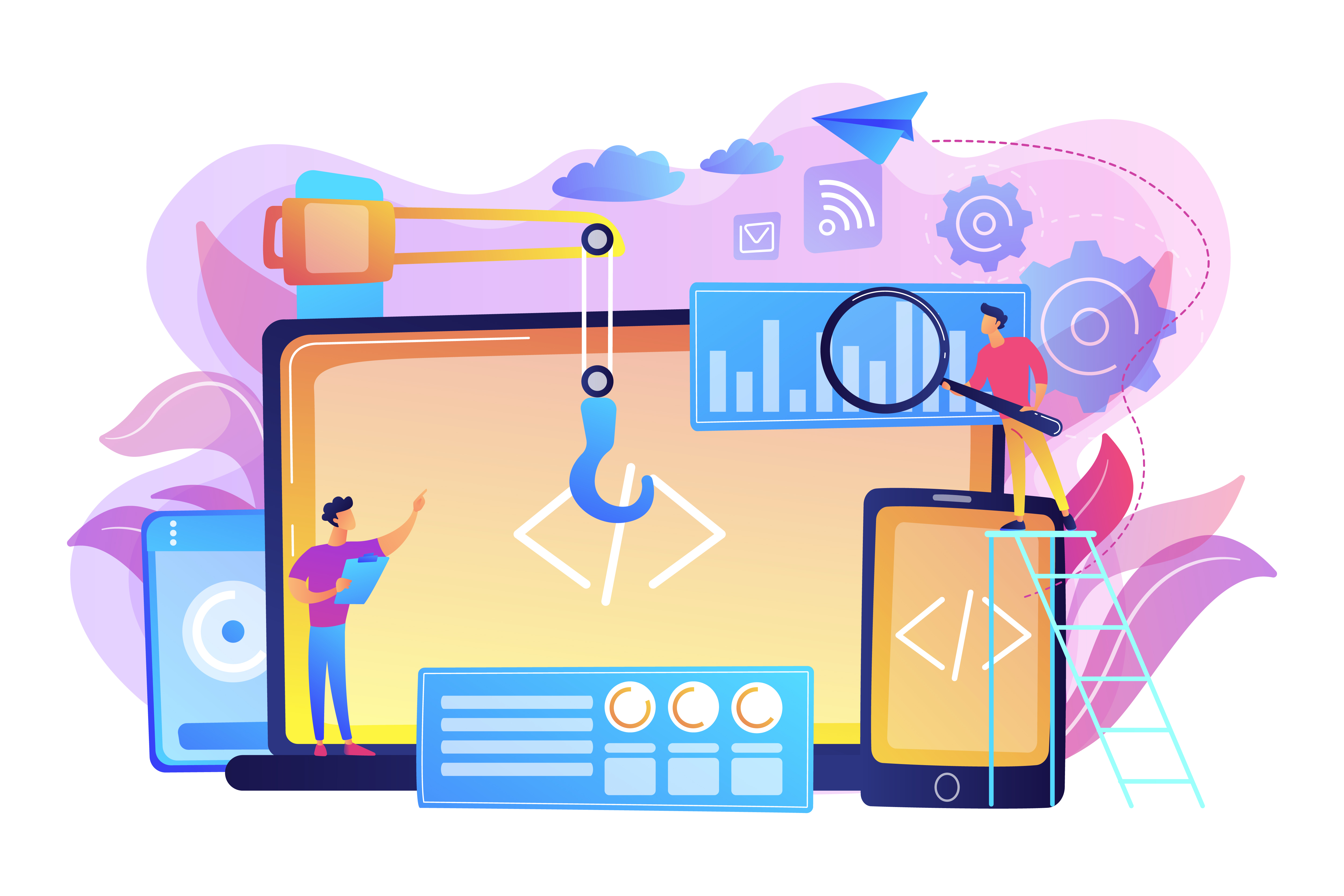 How the Website-Mobile App Combination Works Web Developers Working on a Website