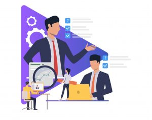 Project Management Tools Project Managers Business people working and giving tasks. Boss, manager, modern technology, office, sample text. Business concept. Vector illustration for poster, presentation, new project