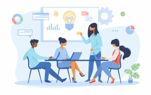 Project Management Tools Project Managers Business team discussing ideas for startup. Leader speaking at board with notes and lightbulb flat vector illustration. Corporate meeting concept for banner, website design or landing web page