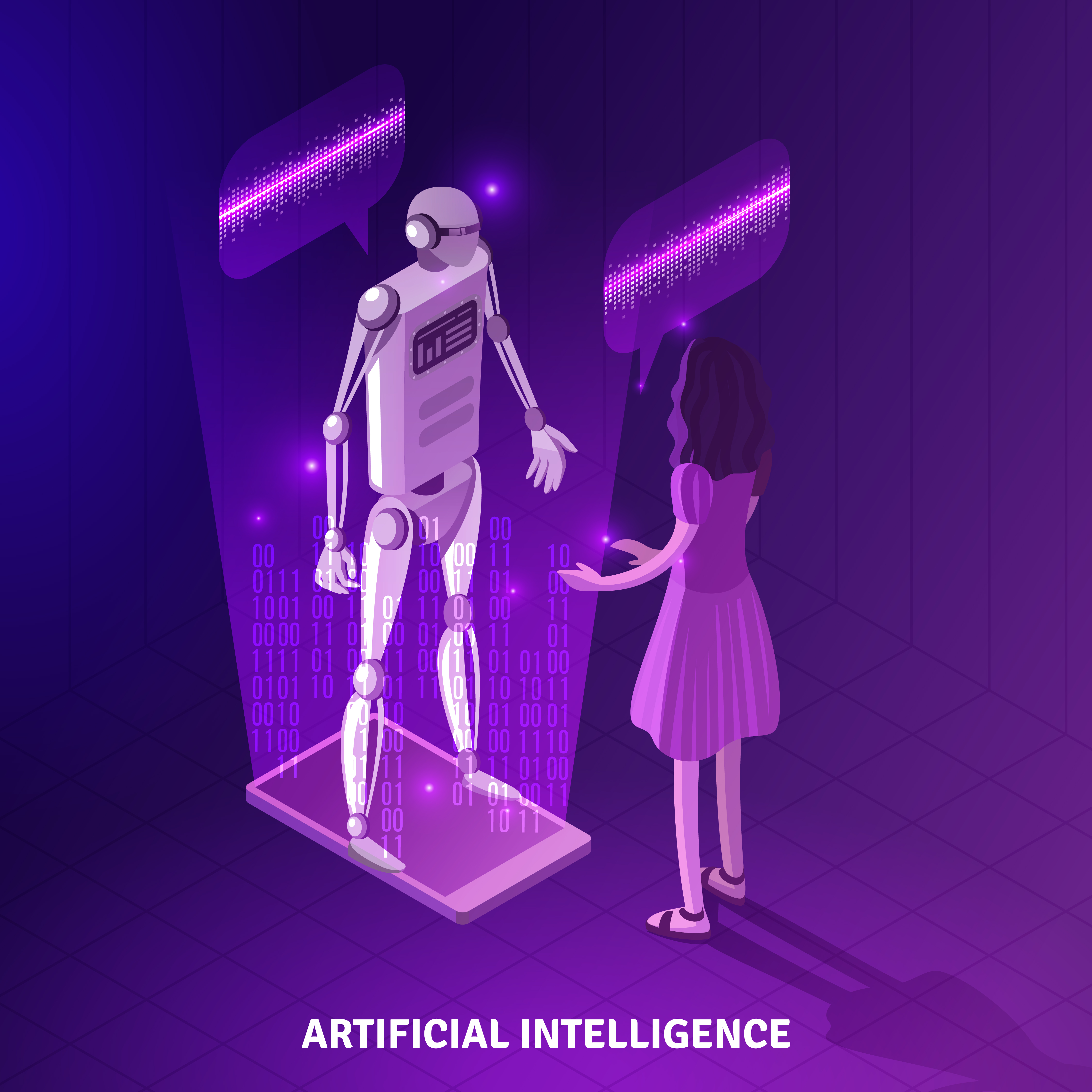 Top Technological Trends to Reshape Businesses in 2021 Woman Interacting with Artificial Intelligence