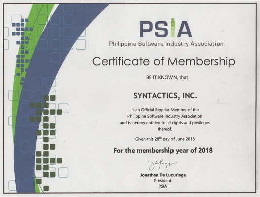 Syntactics Inc. is now a PSIA member