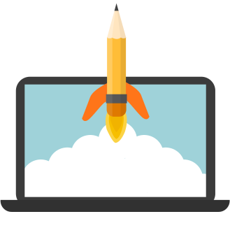 Laptop Vector with Rocketship Pencil