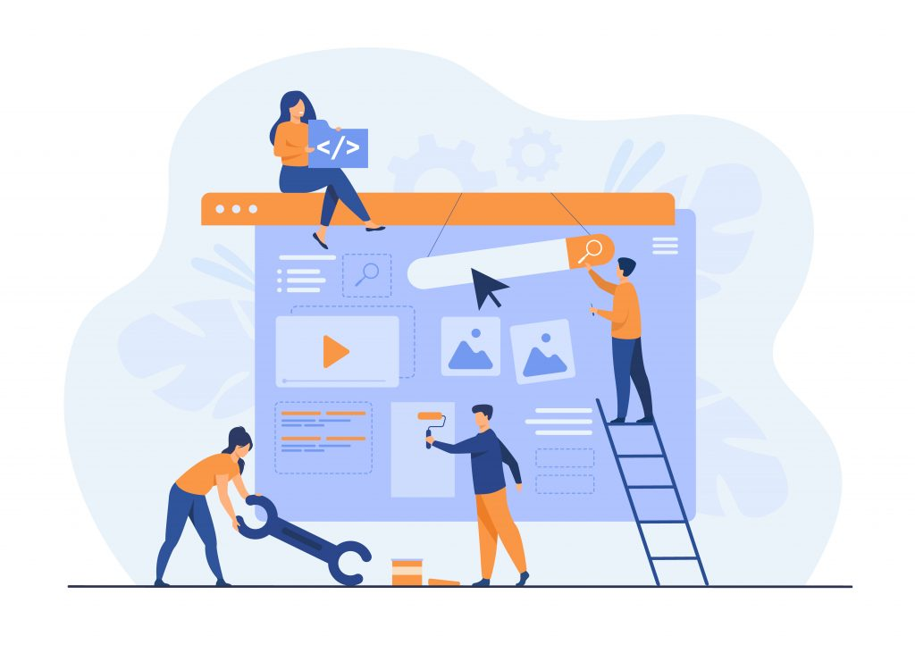 Digital Marketing Trends to Gear Up for in 2021 Digital marketing team constructing landing or home page. Tiny people painting units on webpage. Vector illustration for website designers, content managers, internet promotion concept