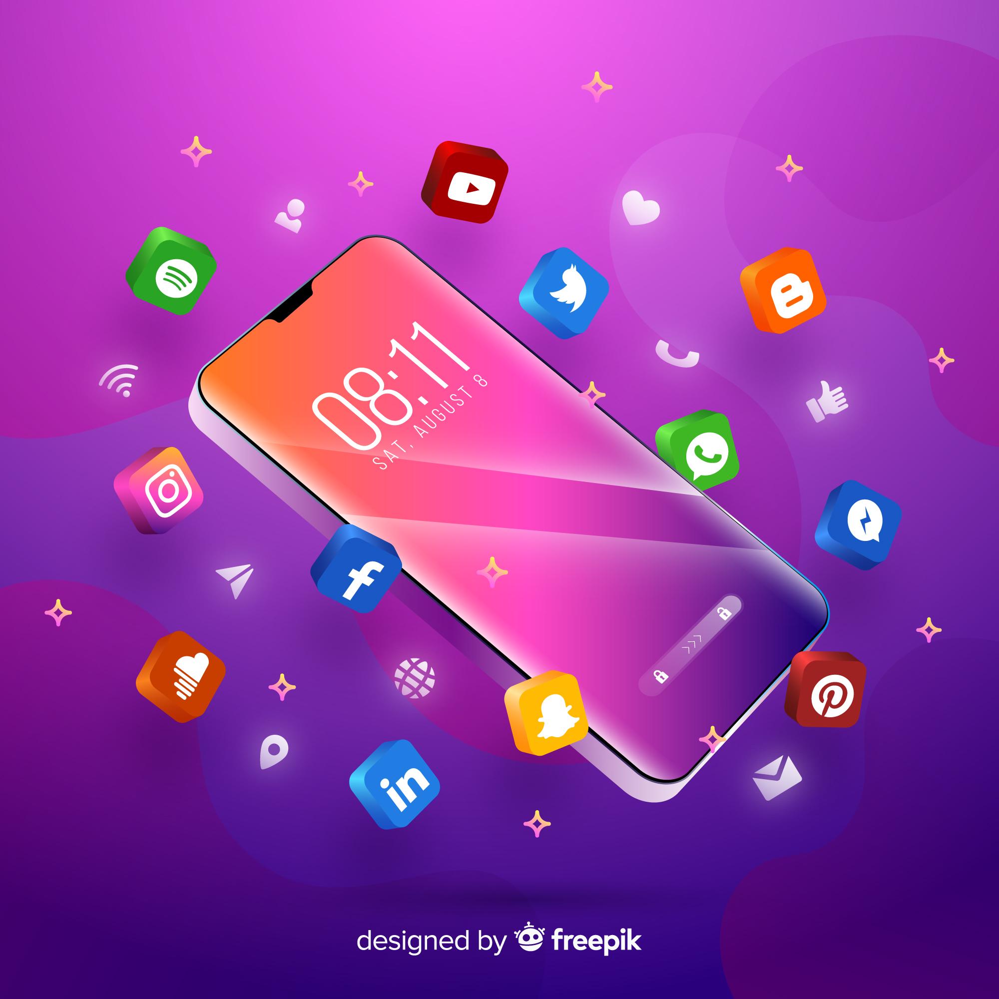 Advantages and Disadvantages of Social Media Advertising Smartphone and Social Media Platform Icons