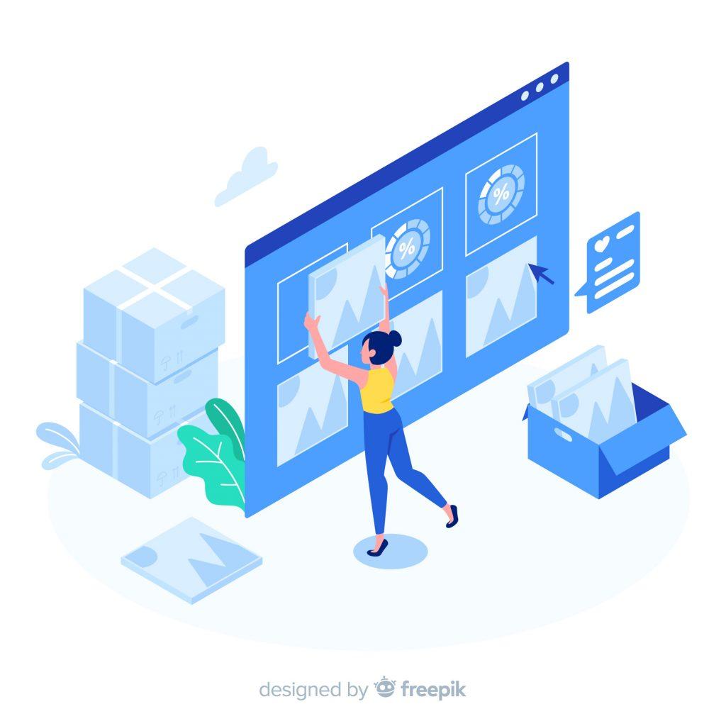 vector girl designing website
