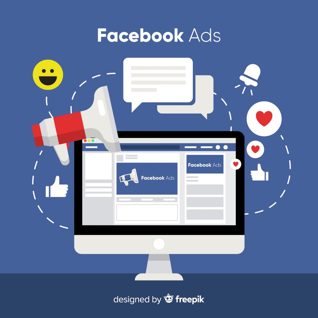 Vector of desktop computer with Facebook ads and icons