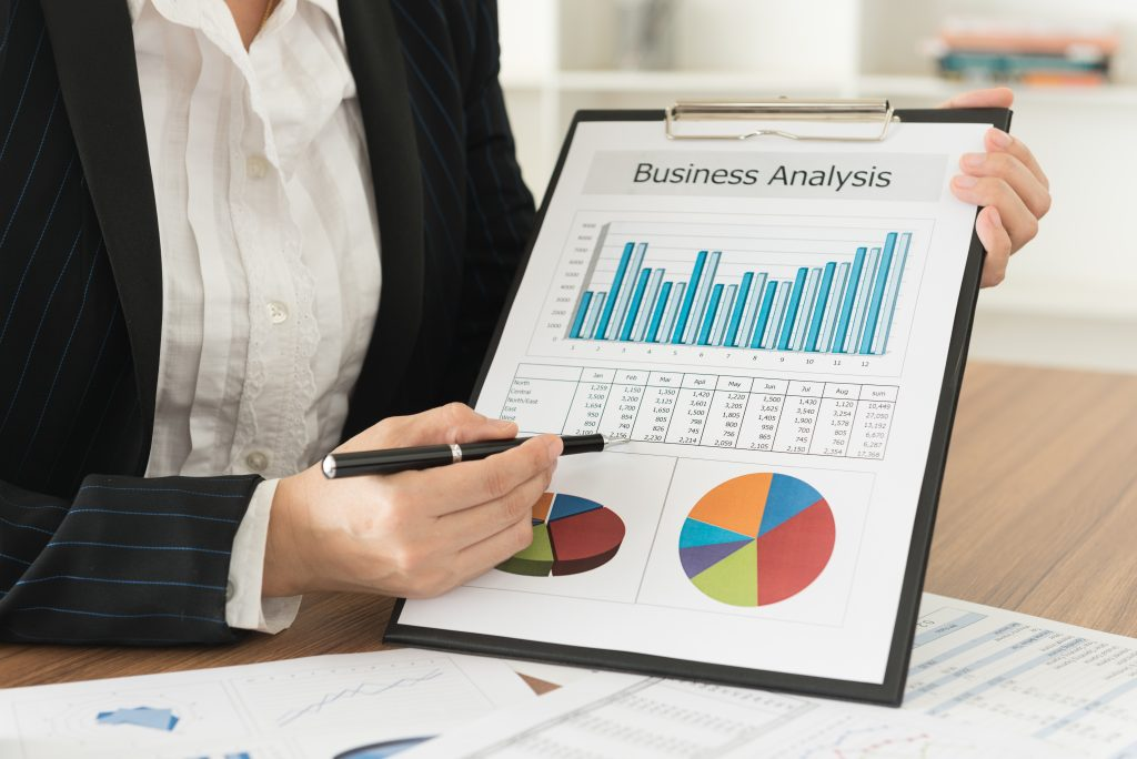 Woman showing the marketing analysis