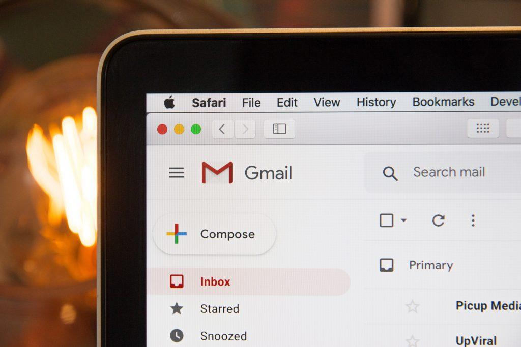 gmail on laptop screen