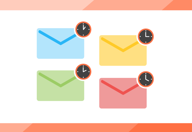 illustration of emails with clocks