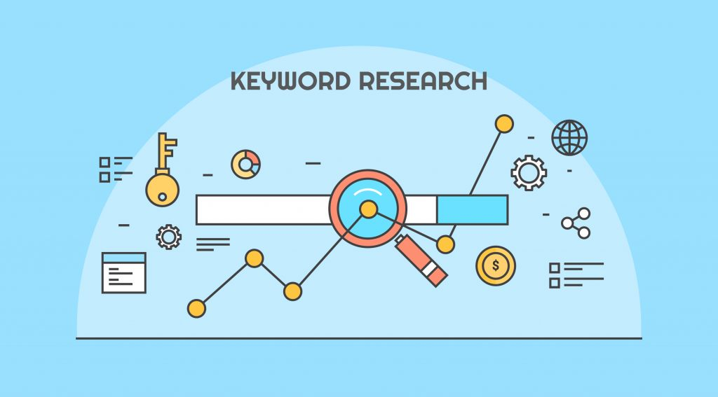 keyword research illustration with icons