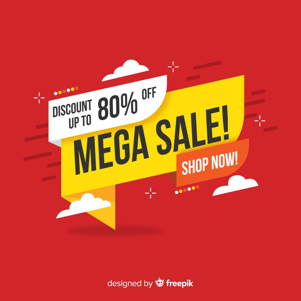 discount up to 90% off mega sale announcement with shop now call to action button