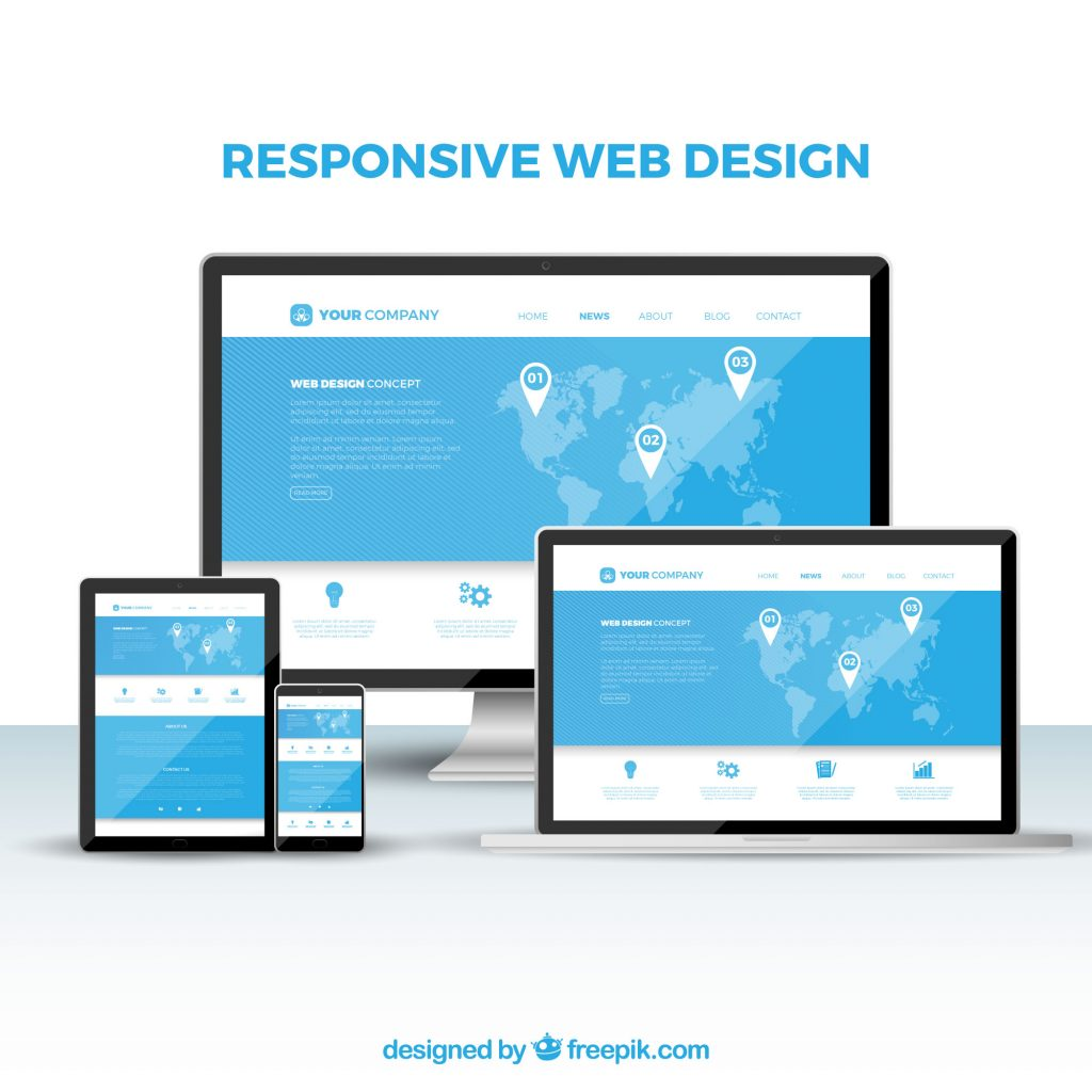 seo checklist requirement shown as responsive web design for different devices