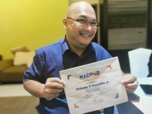 Syntactics COO Wilfredo Kaamiño Jr. and his DPO certificate