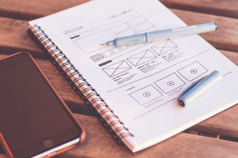 website design wireframe for usability drawn on notebook with black pen