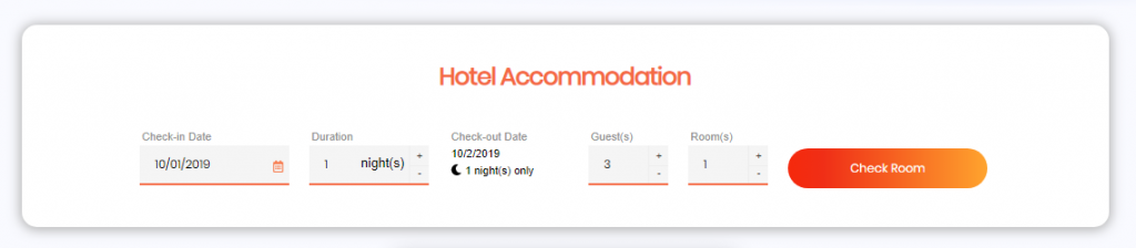 hotel accommodation box of easync booking plugin