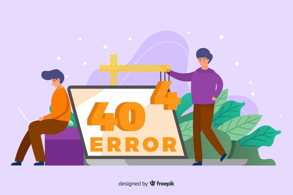 illustratin of web developers with 404 error