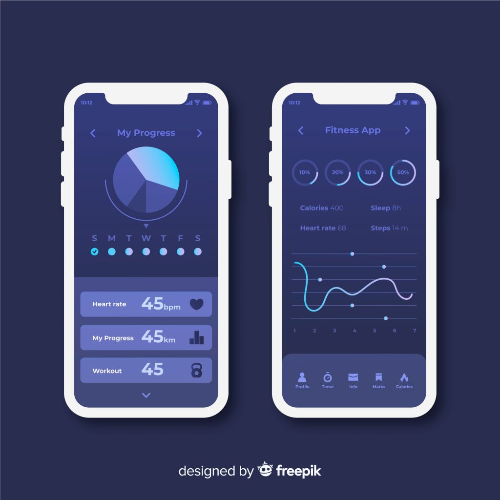 two designs of fitness app's user interface design in night mode