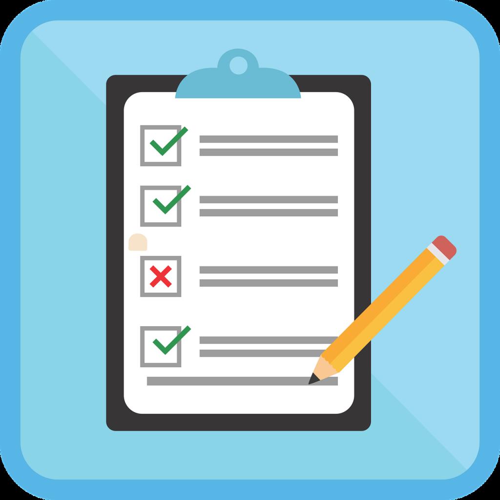 checklist clipboard and pencil