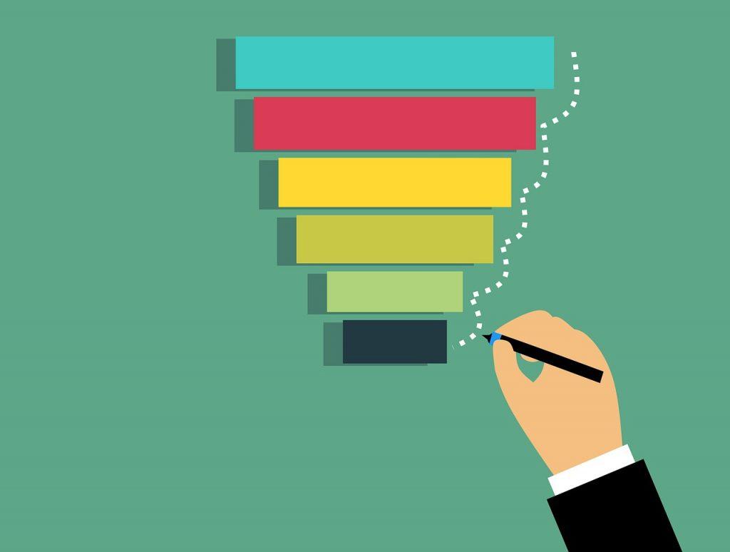illustration marketing sales funnel with steps