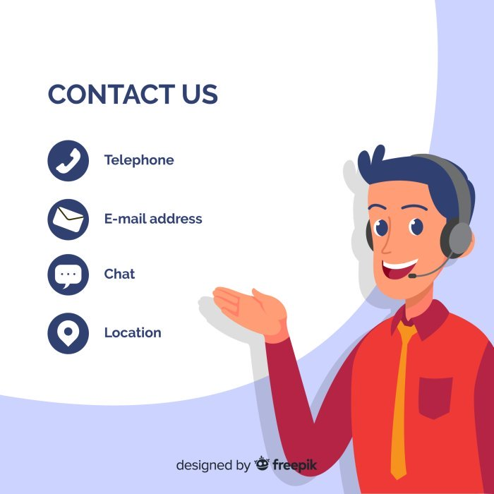 illustration of man wearing headphones pointing to contact us data to show what you shouldn't miss to avoid a web design mistake