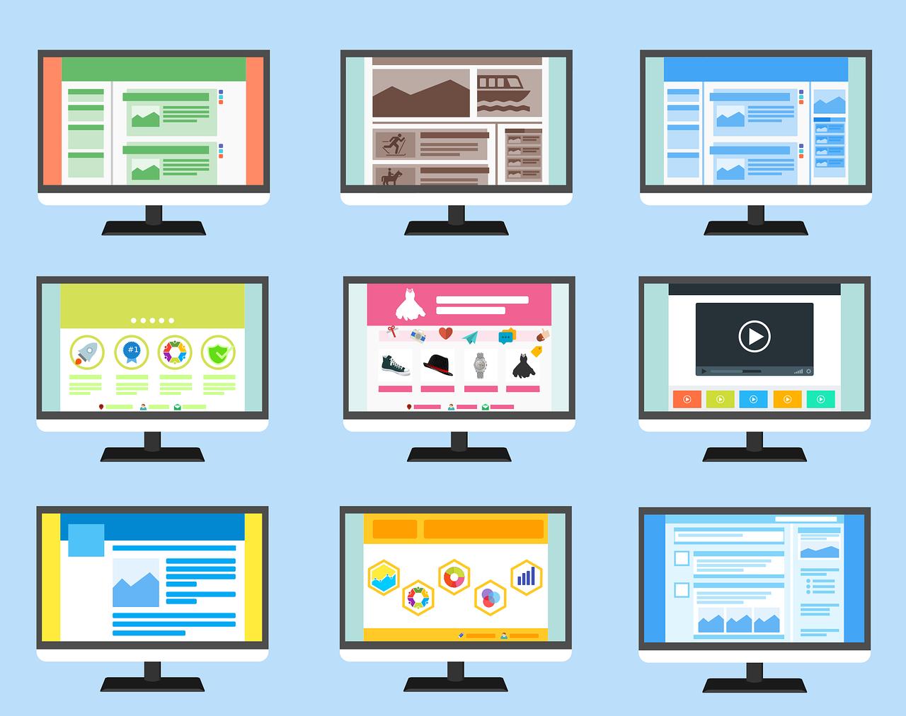 illustration of 9 custom website design layouts
