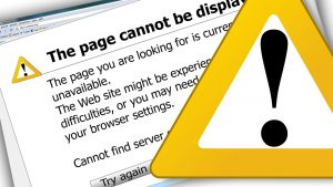 The page cannot be displayed dead link with error sign as one of the most common web development mistakes