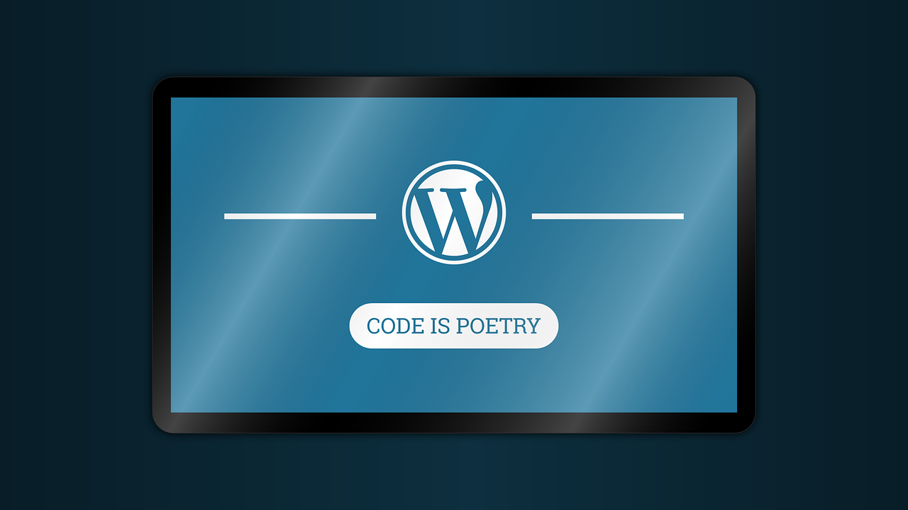 illustration of wordpress theme example with code is poetry tagline