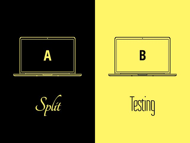 black and yellow illustration of ab or split testing