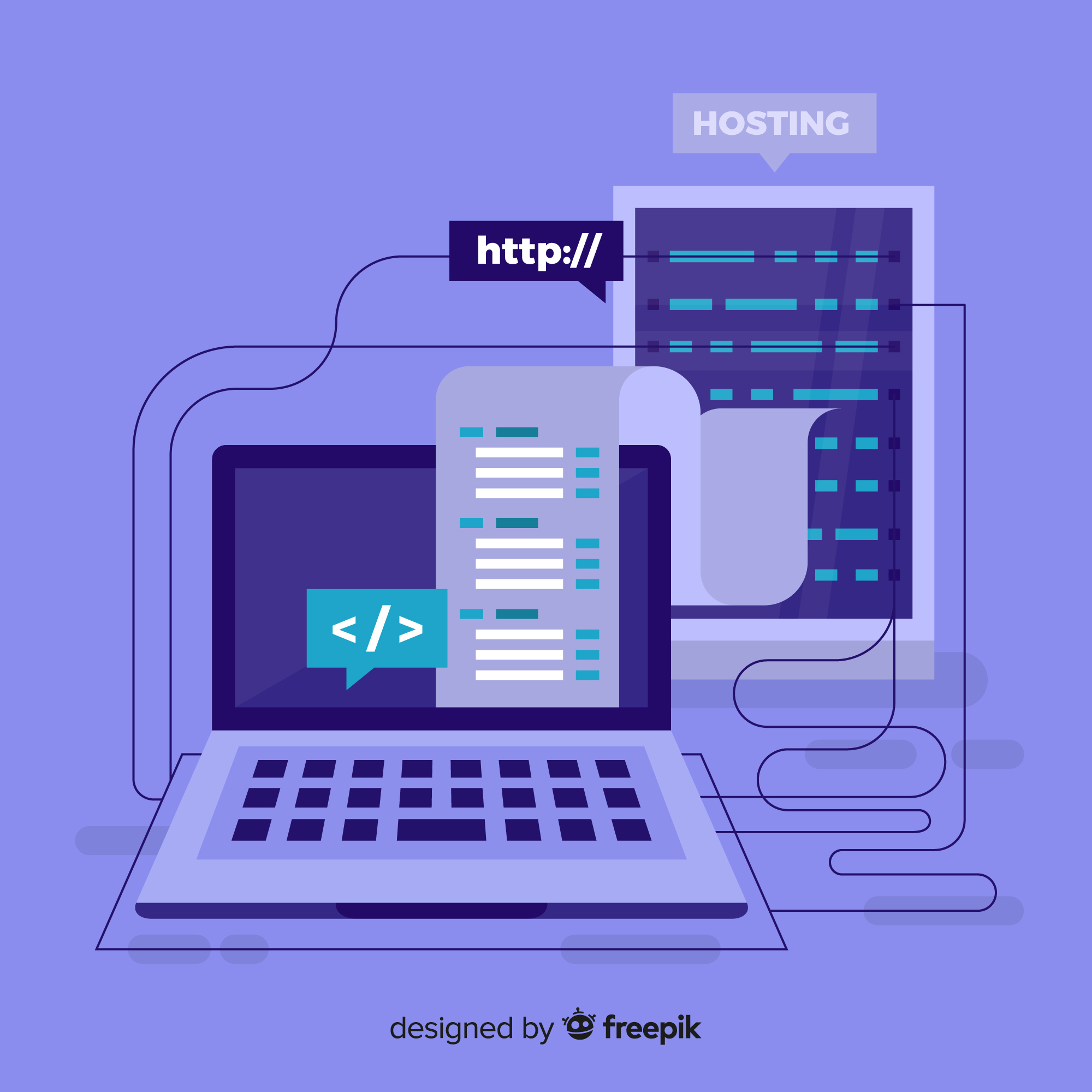 illustration of laptop connected to web host with free ssl