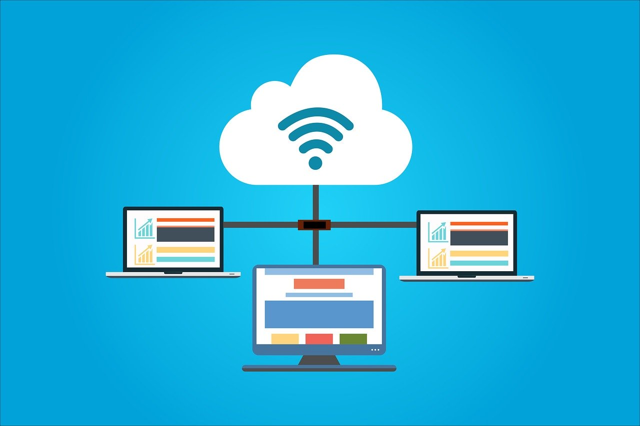 illustration of three connected devices for cloud web hosting