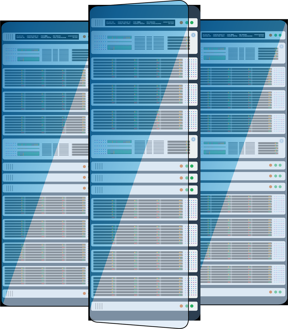 illustration of three data servers side by side