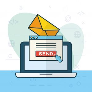 illustration of laptop with popup to click send representing one stage of email marketing that challenges marketers