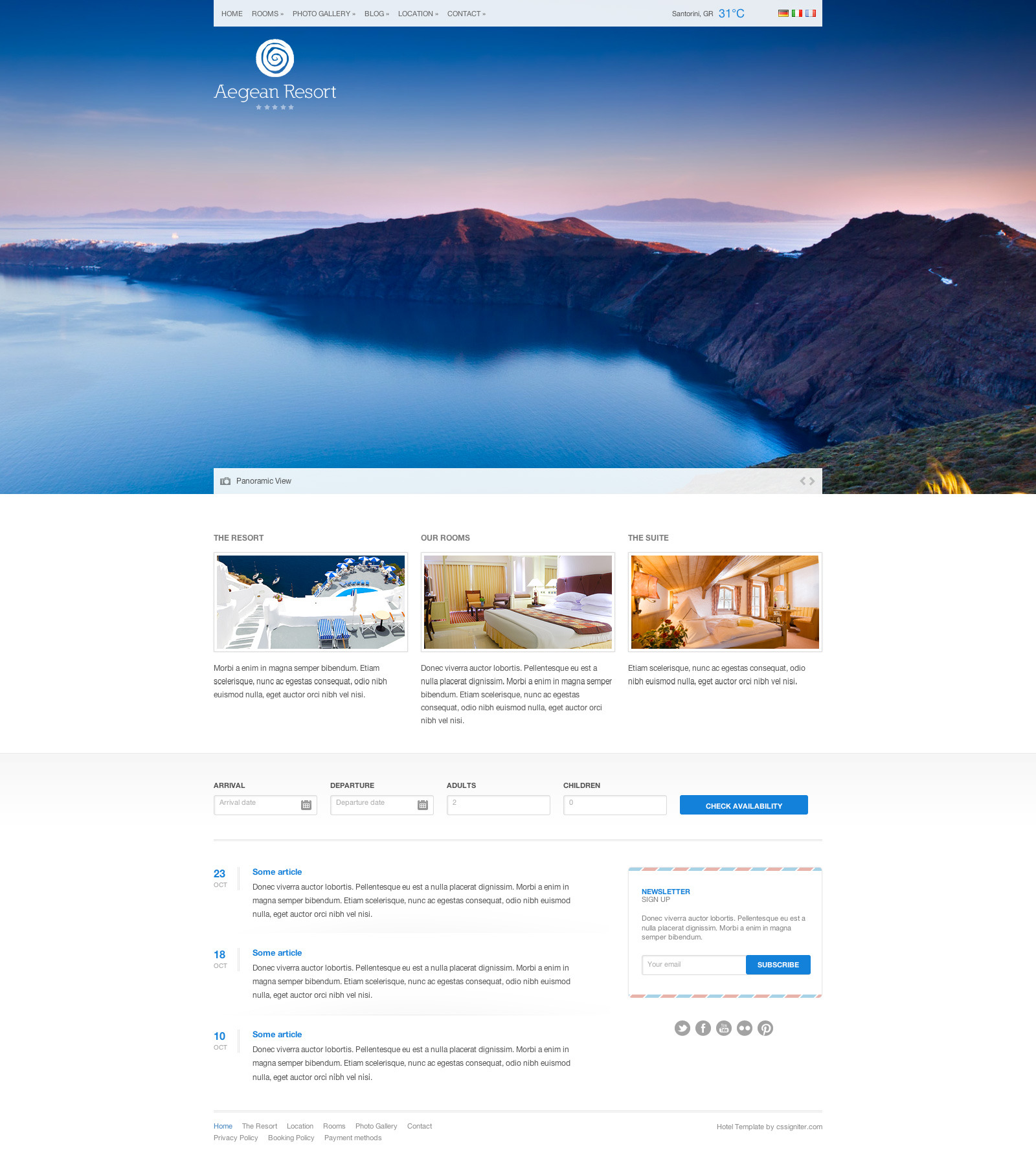 aegean resort theme for wordpress development