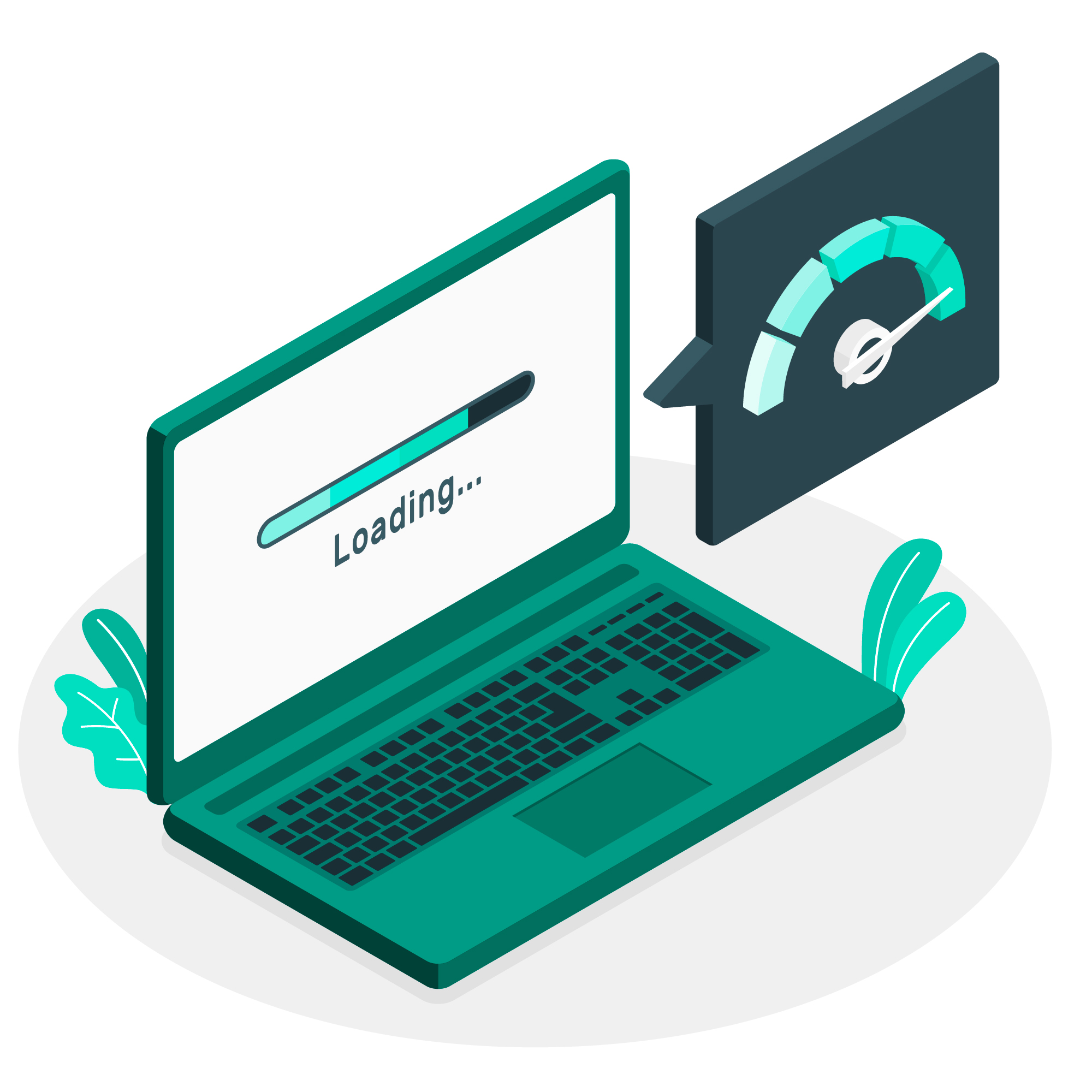 illustration of laptop with loading screen and speed meter to determine website ranking