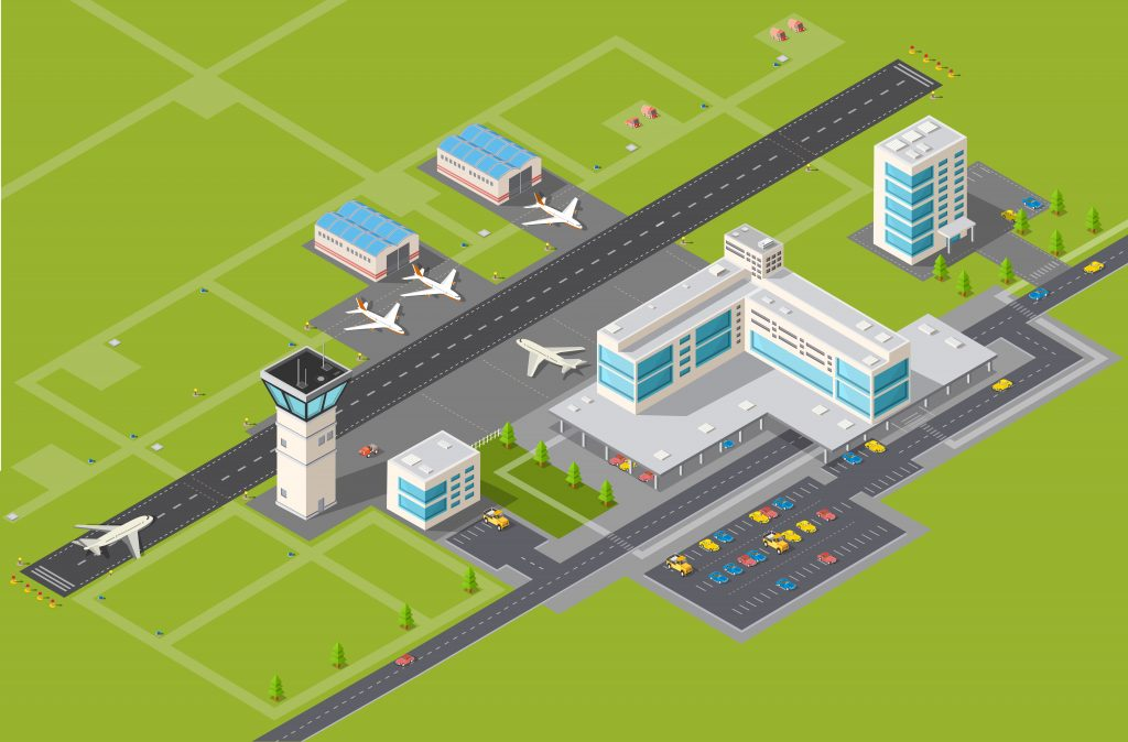 illustration of airport runway and facilities
