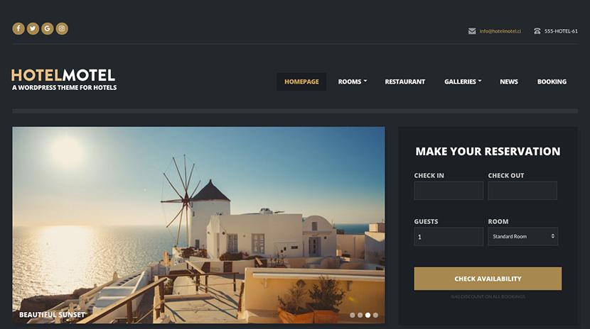 hotelmotel WordPress hospitality theme