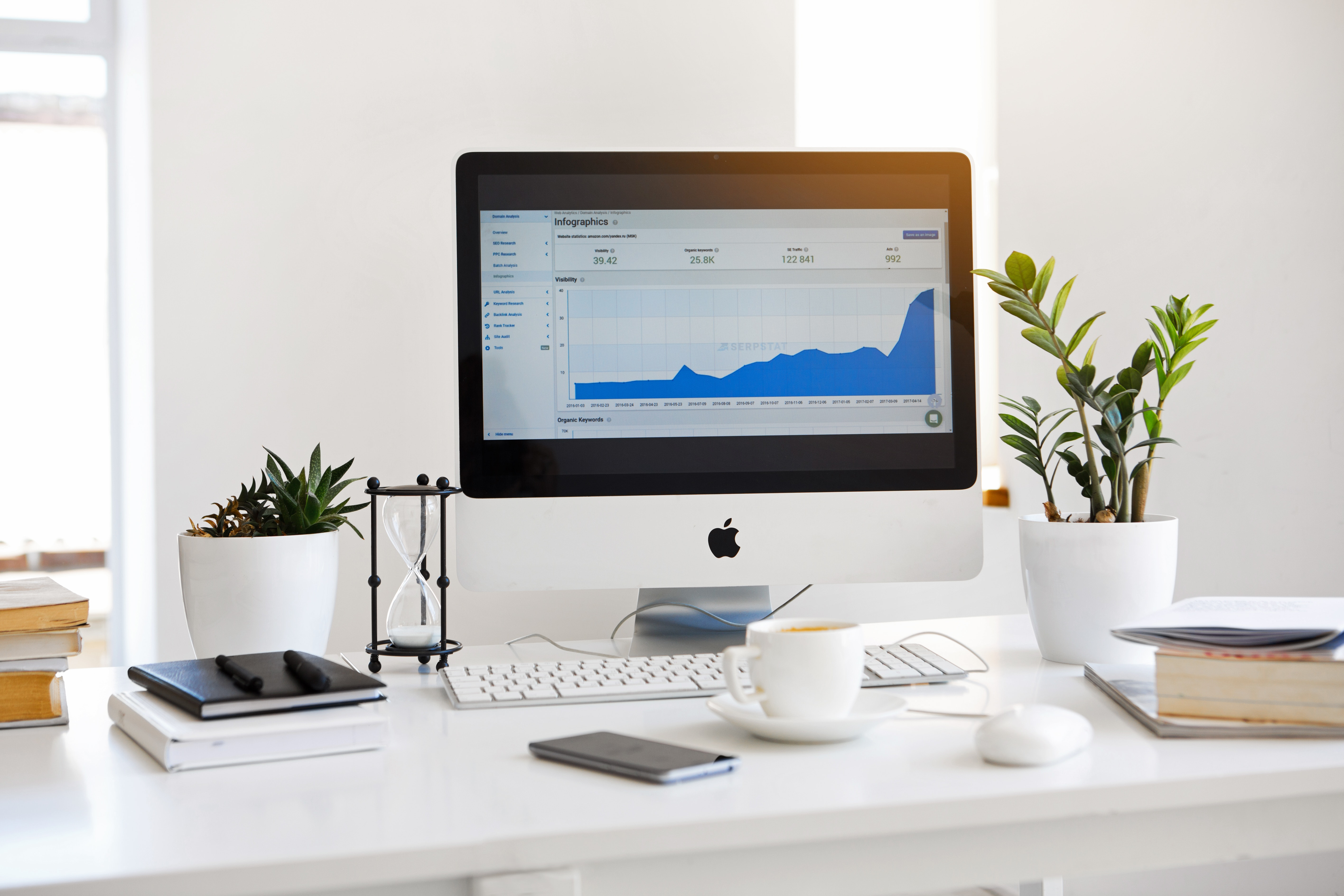 imac on table showing statistics boost due to plugins like WordPress multilingual for example