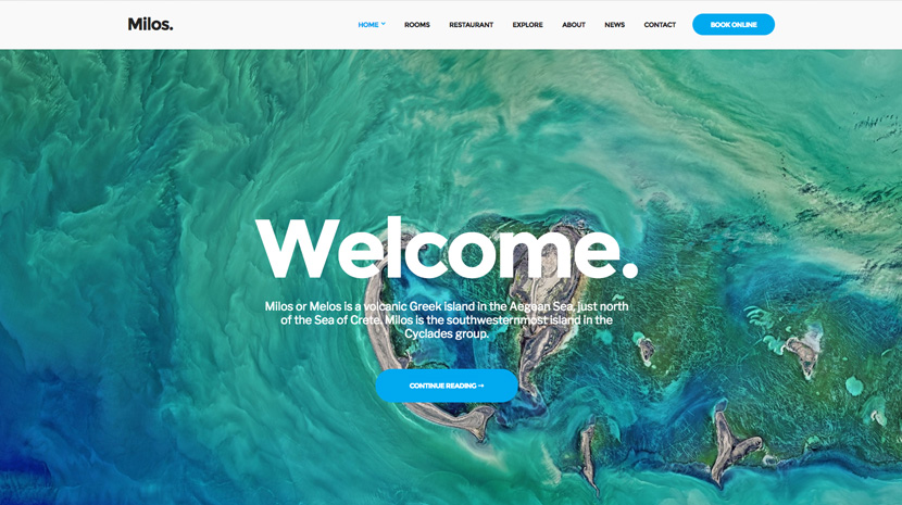 milos hotel theme for WordPress