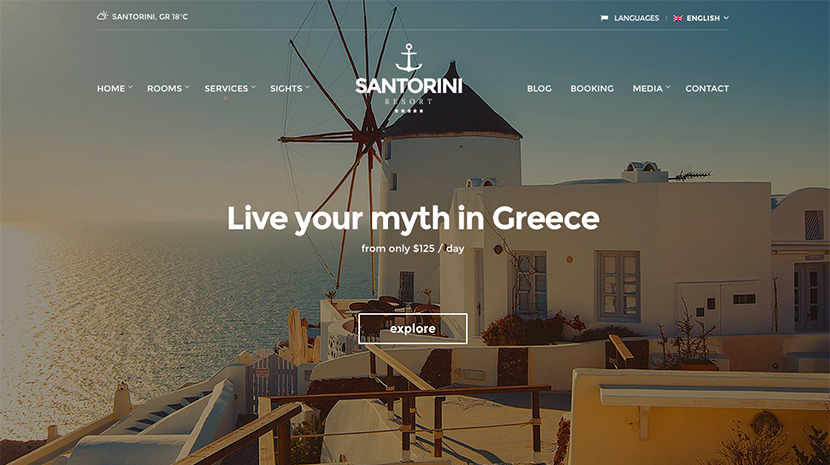 santorini hotel theme for wordpress