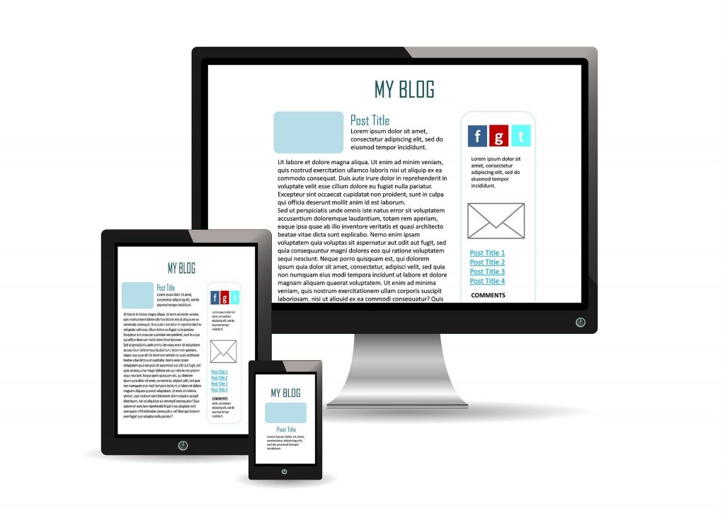 monitor tablet and phone showing responsive blog