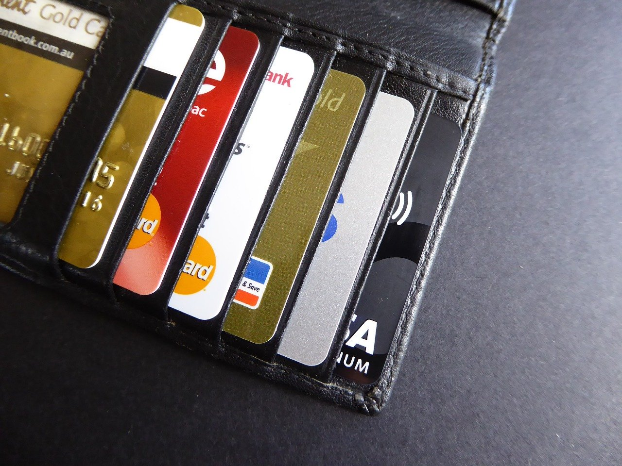 wallet with row of credit and debit cards