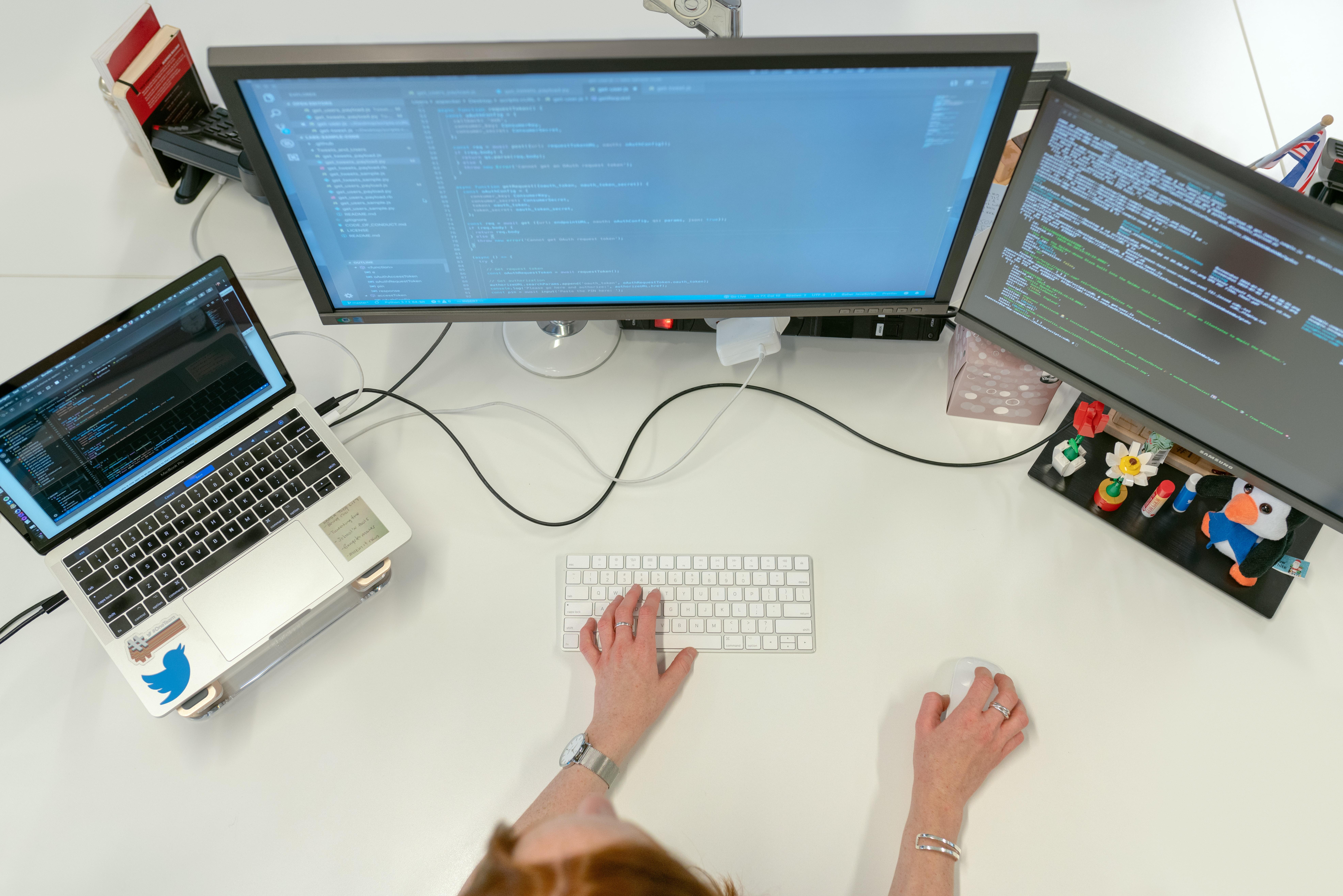 female developer coding for website