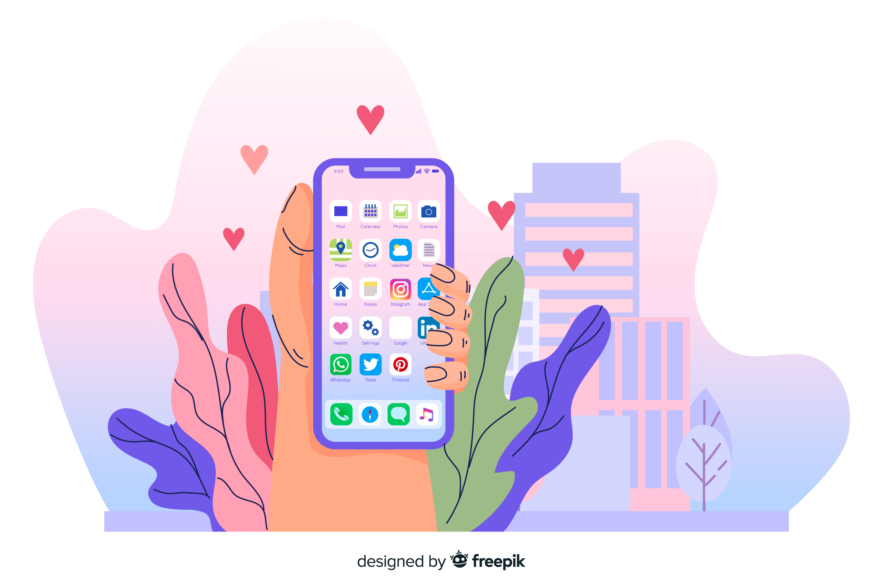 illustration of hand holding a phone with icons for native and hybrid apps displayed