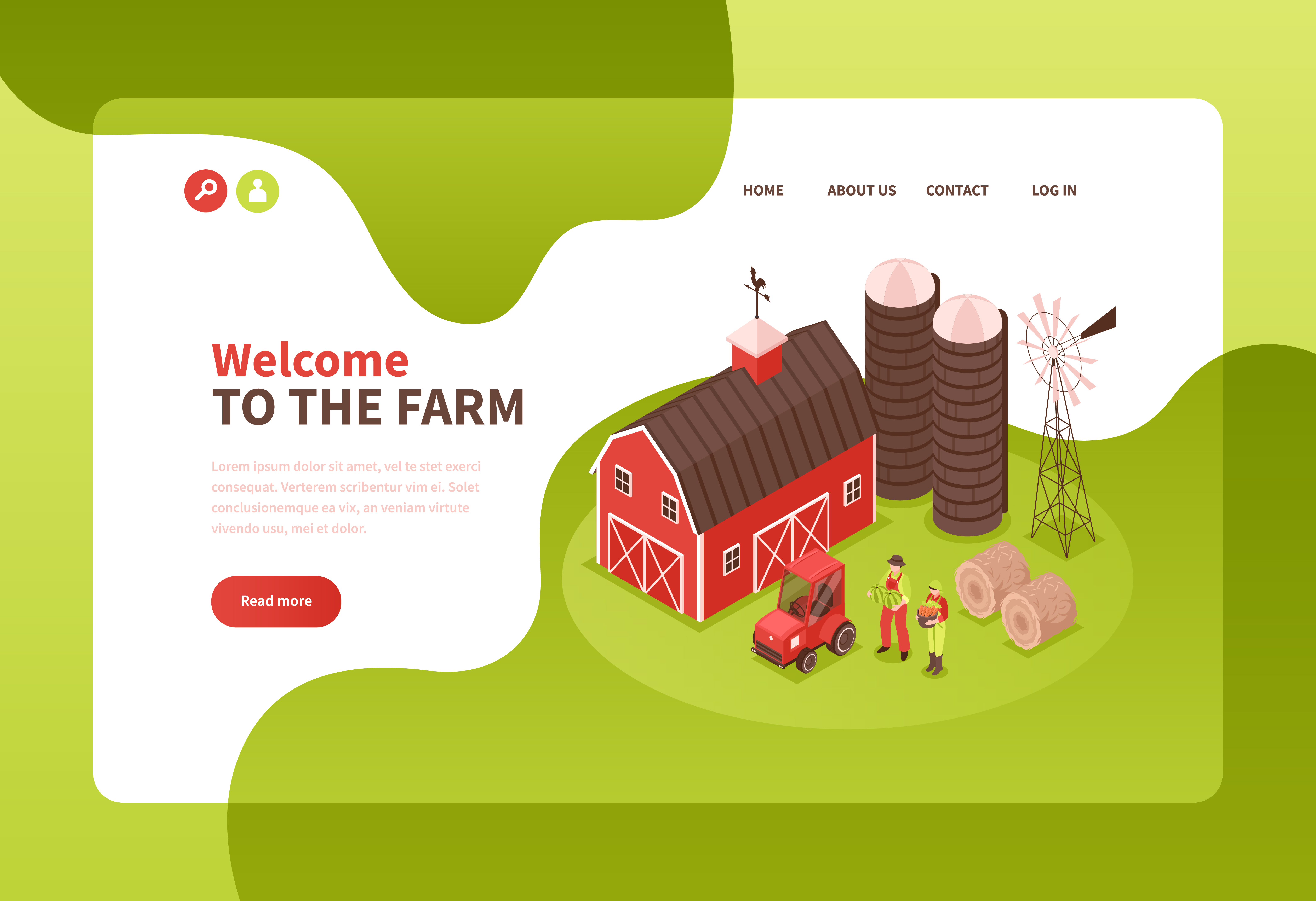 illustration of health and wellness website design for farmers
