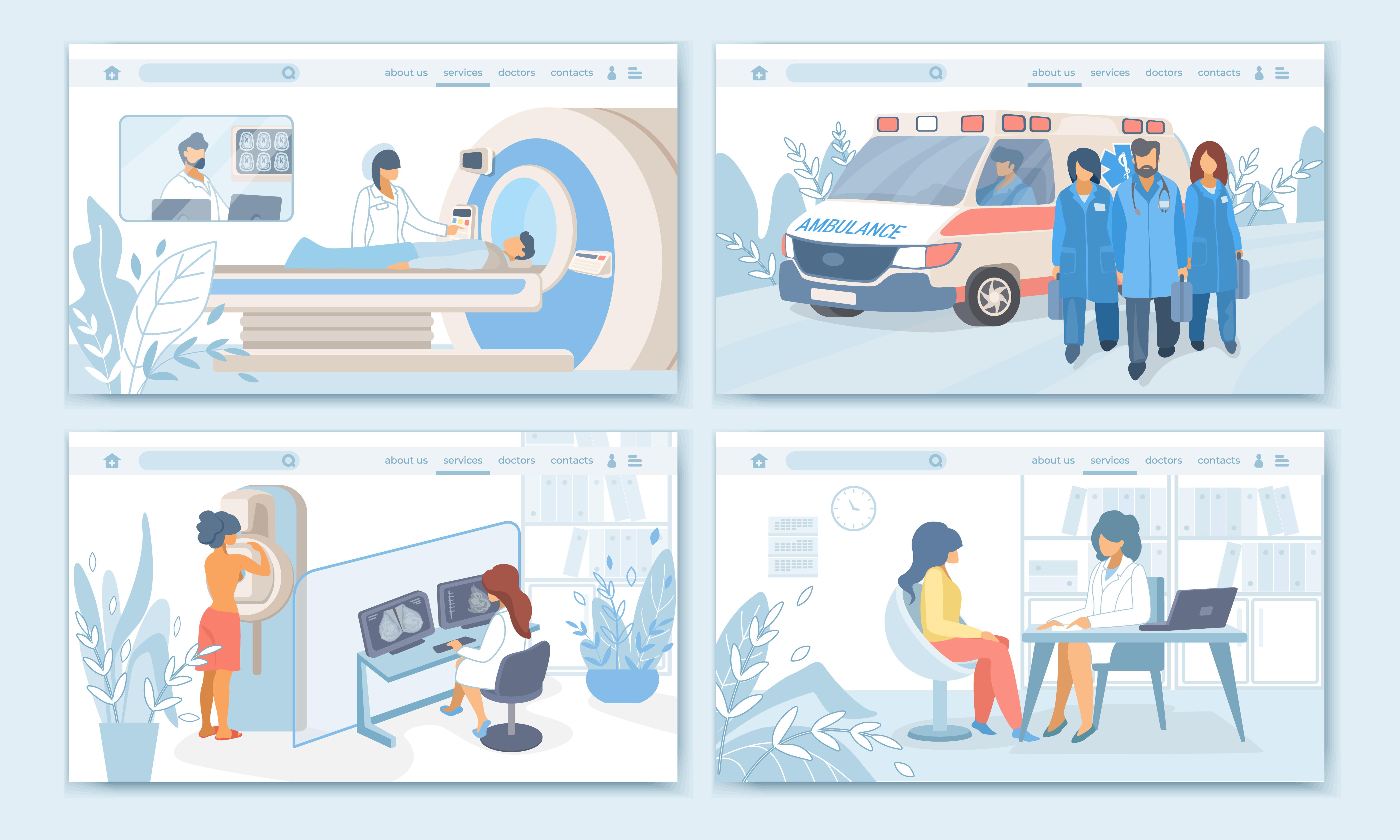 illustration of health and wellness website design for medical institutions