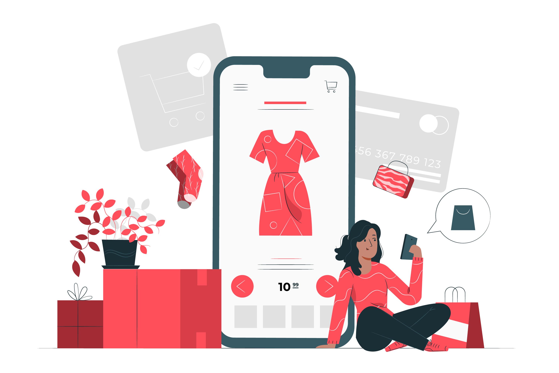 illustration of girl using mobile app for PH e-commerce purchases through online shopping