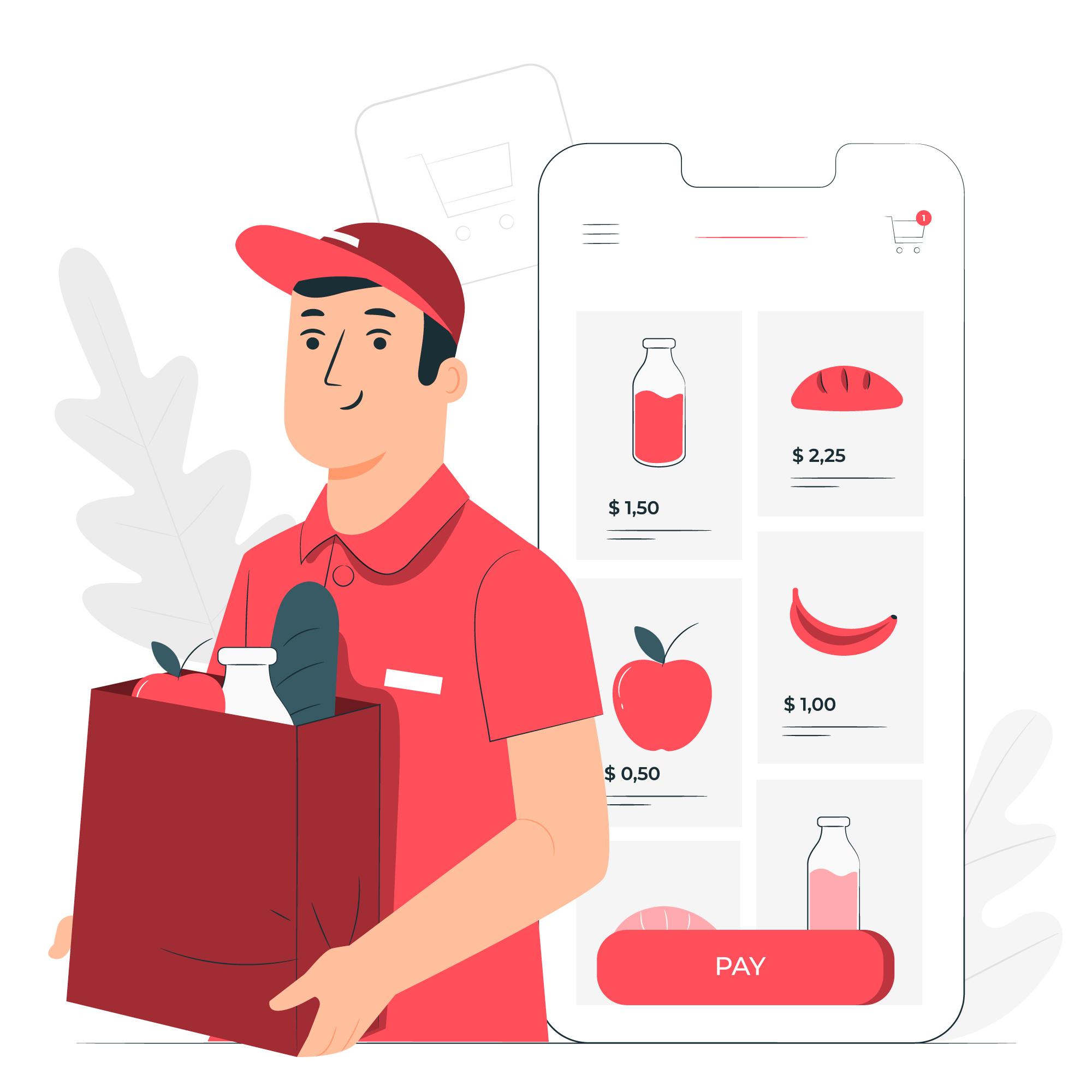 illustration of boy delivering groceries from app order