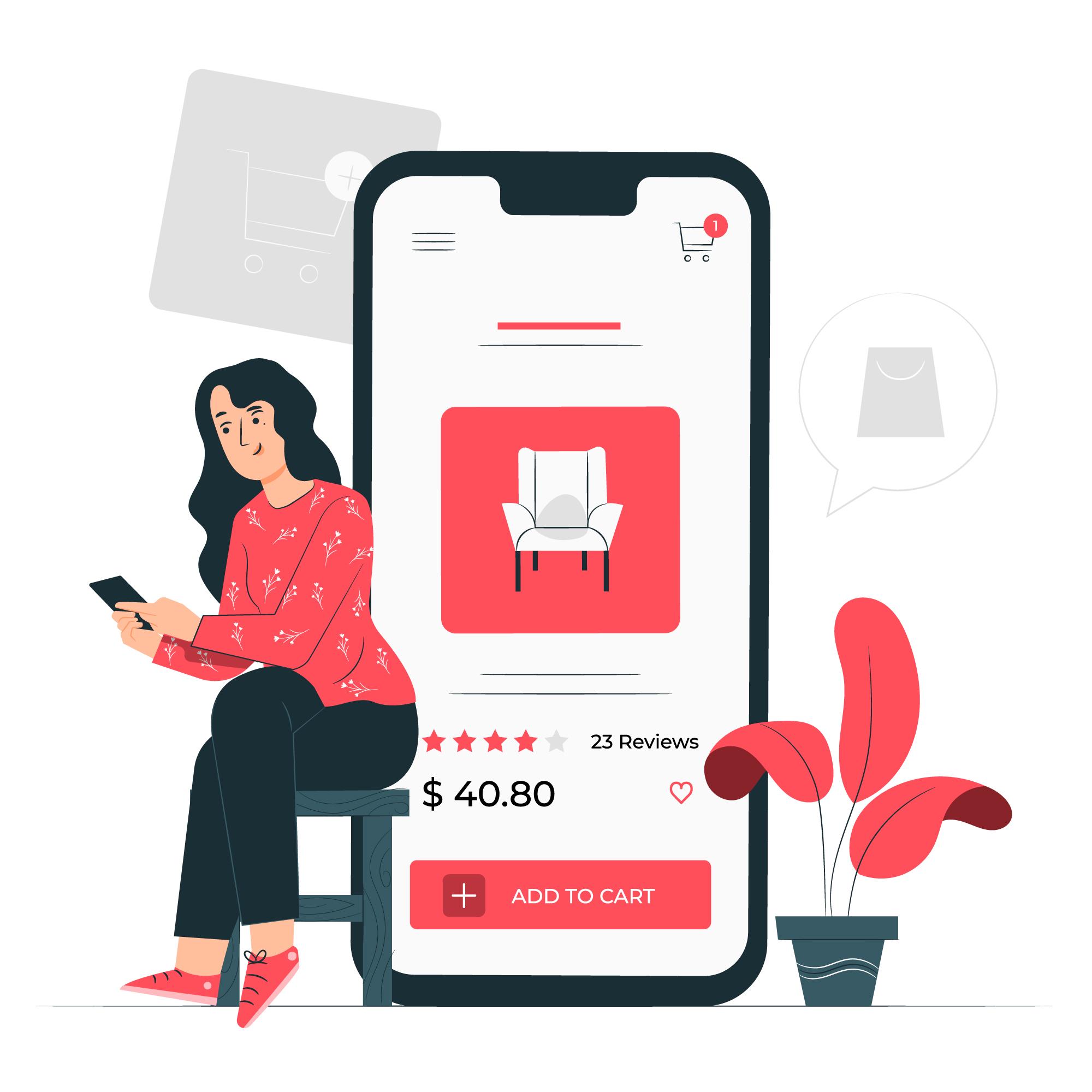 illustration of girl browsing furniture on PH e-commerce site